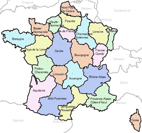 Frankreich Departements Karte.Mittelmeer Basar Frankreich